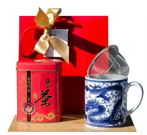 Gift Bag – Jasmine tea & Blue Dragon Ceramic Mug - Japanese